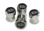 OEM Factory Kia Chrome Plated Valve Stem Caps Covers Black with Kia Logo # UM011 AY0BK